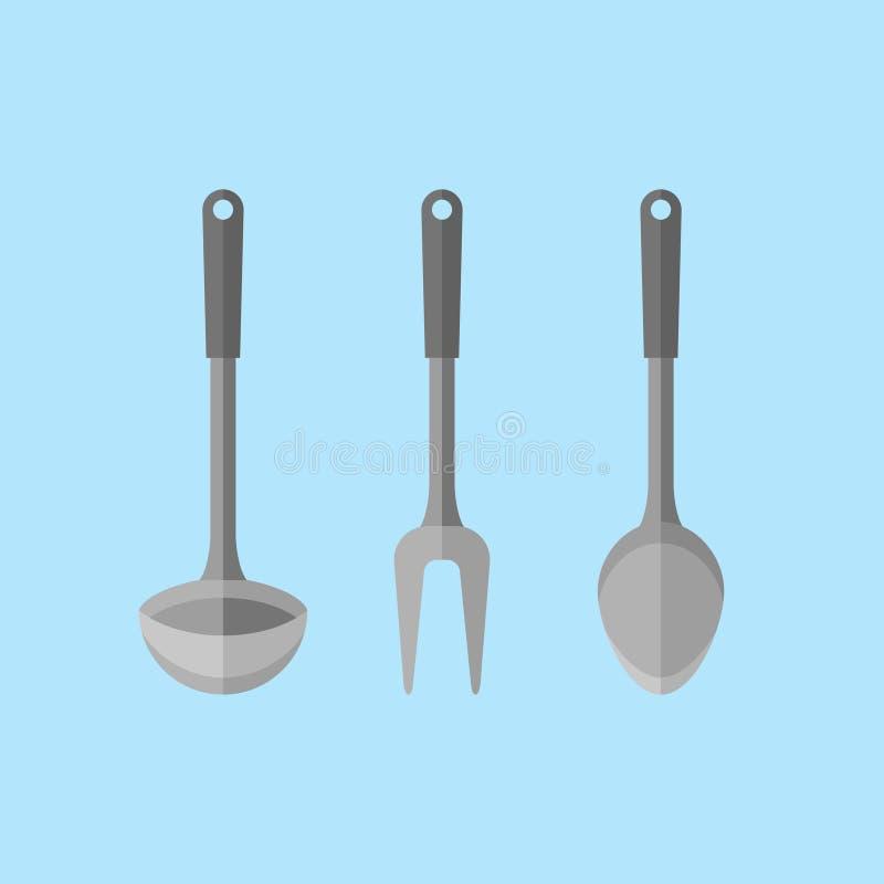 Een steun in de vorm van een aardige eend Gietlepel, lepel en vork vlakke stijlpictogrammen Vector illustratie royalty-vrije illustratie