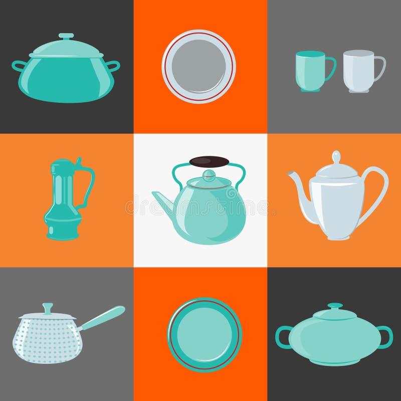 Een steun in de vorm van een aardige eend De apparatuur van de keuken Huishoudenvoorwerpen pictogrammen royalty-vrije illustratie