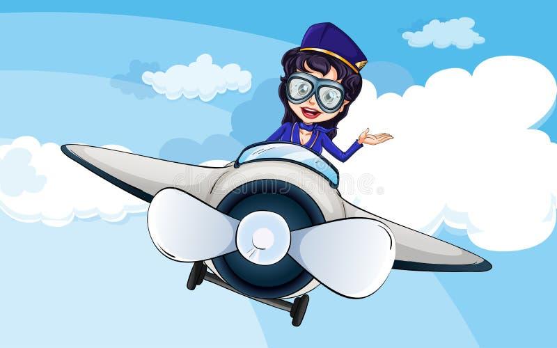 Een stewardess op een vliegtuig vector illustratie