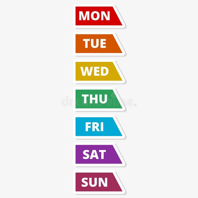 Een sticker van de weekkalender in moderne vlakke stijl voor Web stock illustratie