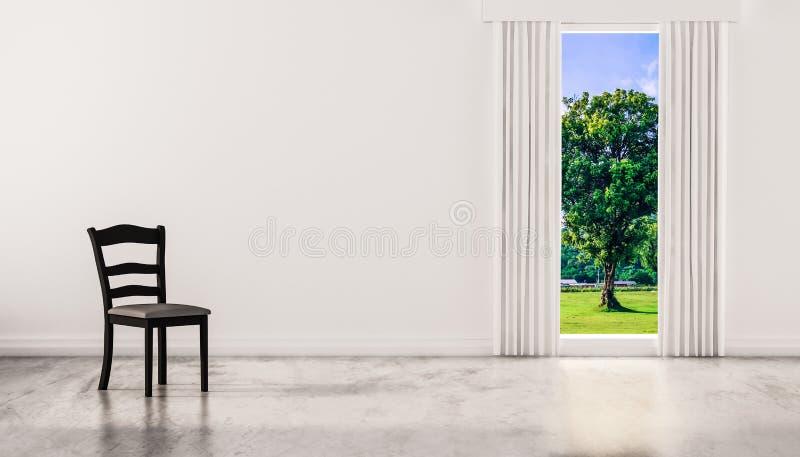 Een stoel op concrete opgepoetste vloer met venster en een boom natuurlijke mening over witte muur, teruggegeven 3d royalty-vrije illustratie