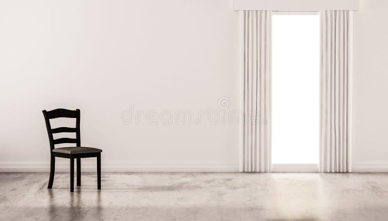 Een stoel op concrete opgepoetste vloer met witte muur en geïsoleerd venster, teruggegeven 3d vector illustratie