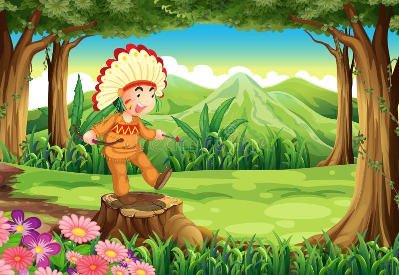 Download Een Stomp Bij De Wildernis Met Een Indiër Vector Illustratie - Illustratie bestaande uit beeldverhaal, grafisch: 39116923