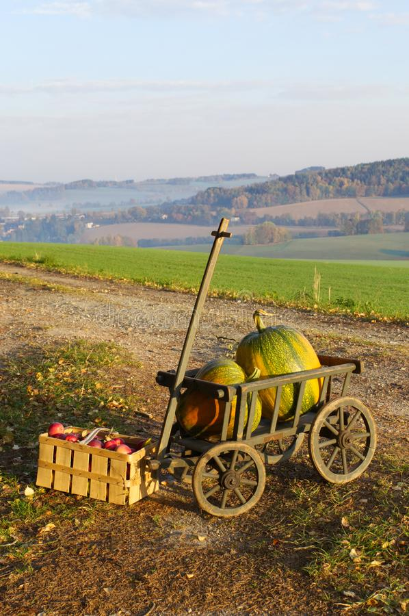 Een stootkar met twee pompoenen en appelen stock foto's