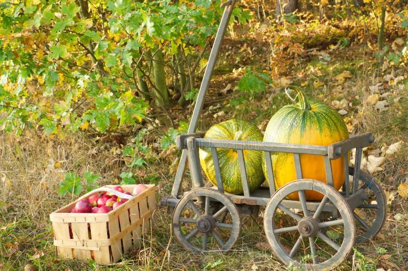 Een stootkar met twee pompoenen en appelen royalty-vrije stock foto