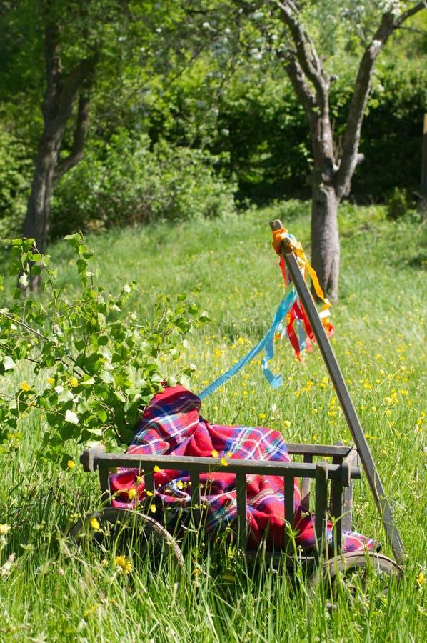 Een stootkar op een groene weide in de lente op vadersdag stock foto's