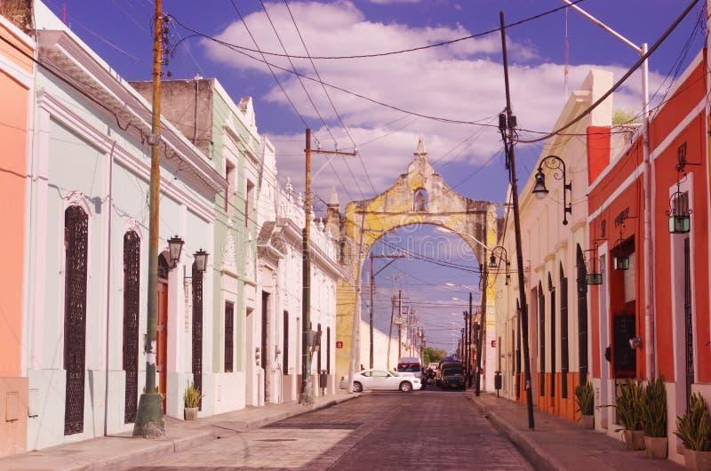 Een straat in Merida stock fotografie