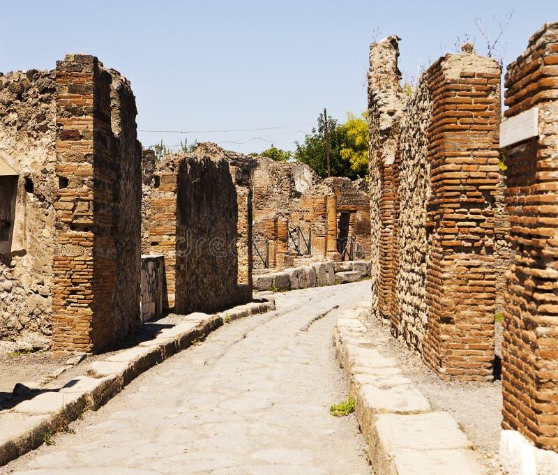 Een straat in Pompei royalty-vrije stock foto's