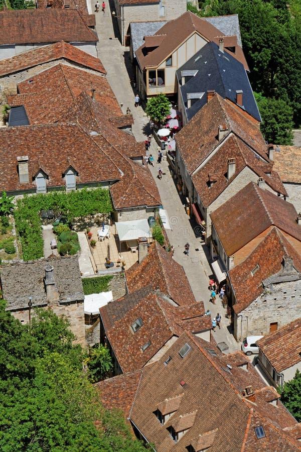 Een straat in Rocamadour stock fotografie