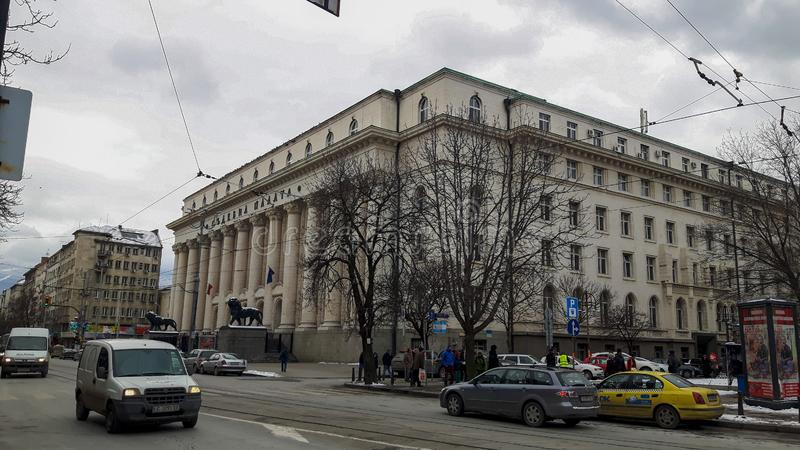 Een straat in Sofia in de winter stock afbeelding