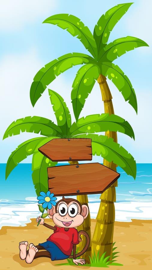 Een strand met een aap die een bloem houden royalty-vrije illustratie