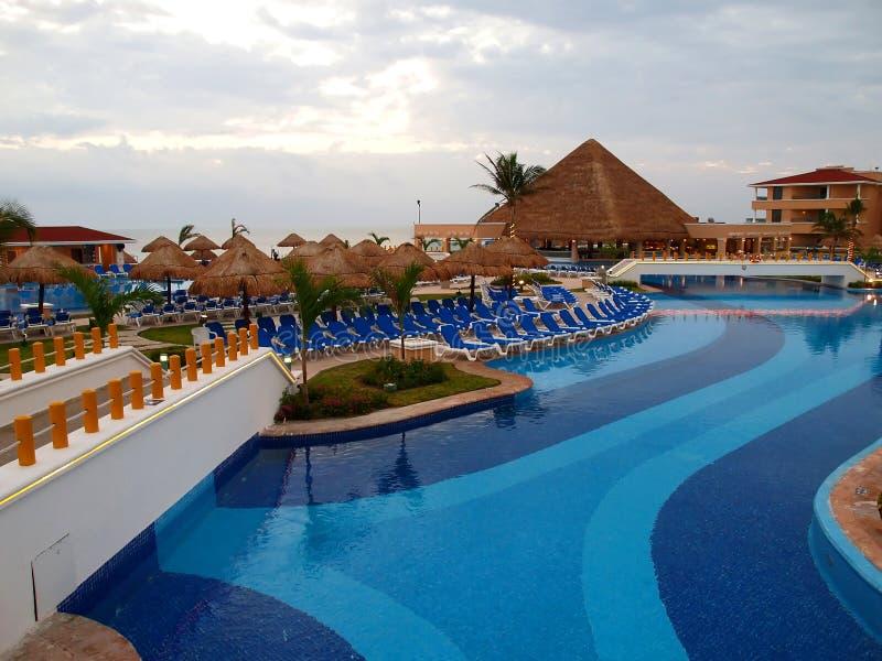 Een strandtoevlucht in Cancun stock afbeeldingen