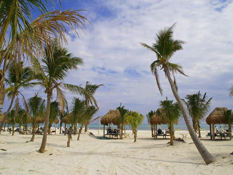 Een strandtoevlucht in Cancun stock foto's