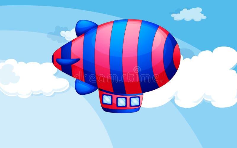 Een streep-gekleurd luchtschip in de hemel vector illustratie