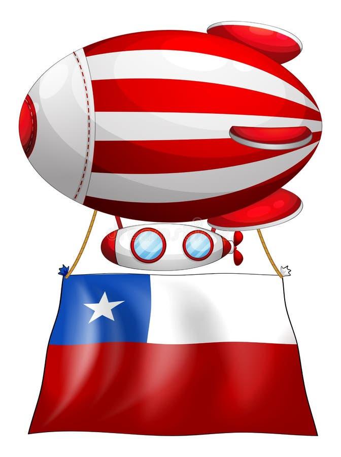 Een streep-gekleurde ballon met de vlag van Chili stock illustratie