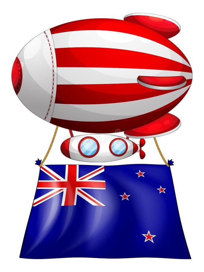 Een streep-gekleurde ballon met de vlag van Nieuw Zeeland royalty-vrije illustratie