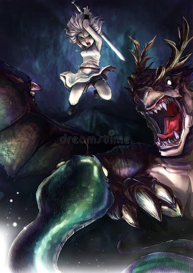 Een strijdersmeisje bestrijdt een reuzeserpent met haar draak vector illustratie