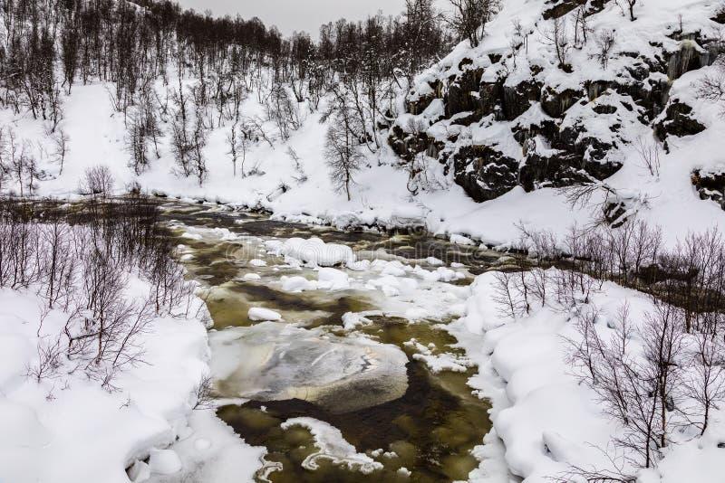 Een stromende de winterrivier in de bergen van Setesdal, Noorwegen De rivier wordt omringd door bomen, sneeuw en ijs royalty-vrije stock foto