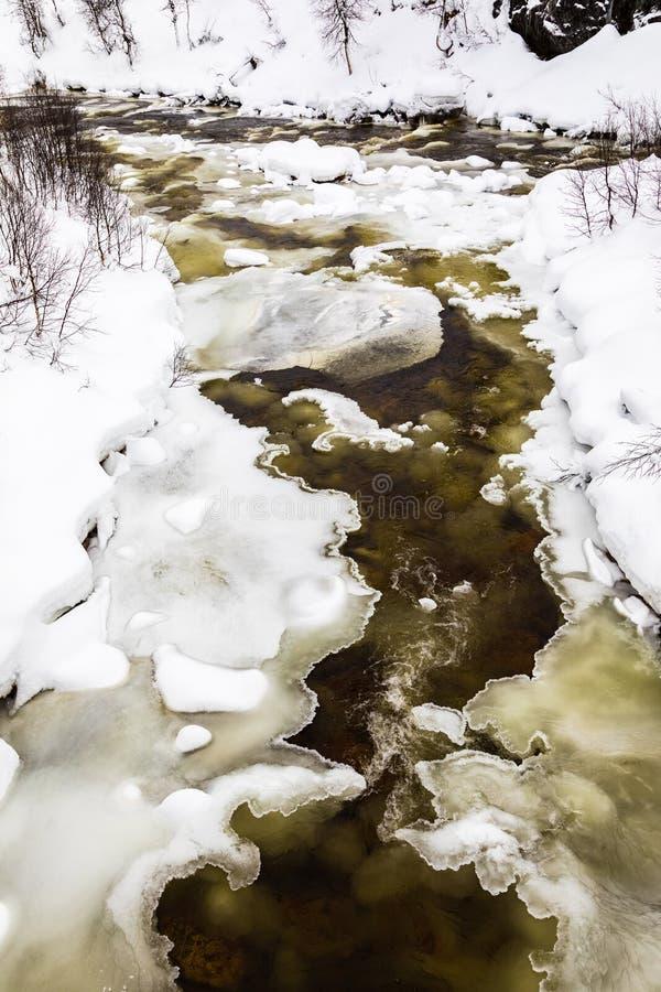 Een stromende de winterrivier tussen ijs en sneeuw, in de bergen van Setesdal, Noorwegen stock foto