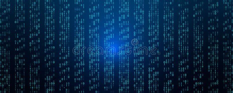 Een stroom van binaire matrijscode inzake het scherm aantallen van de computermatrijs royalty-vrije illustratie