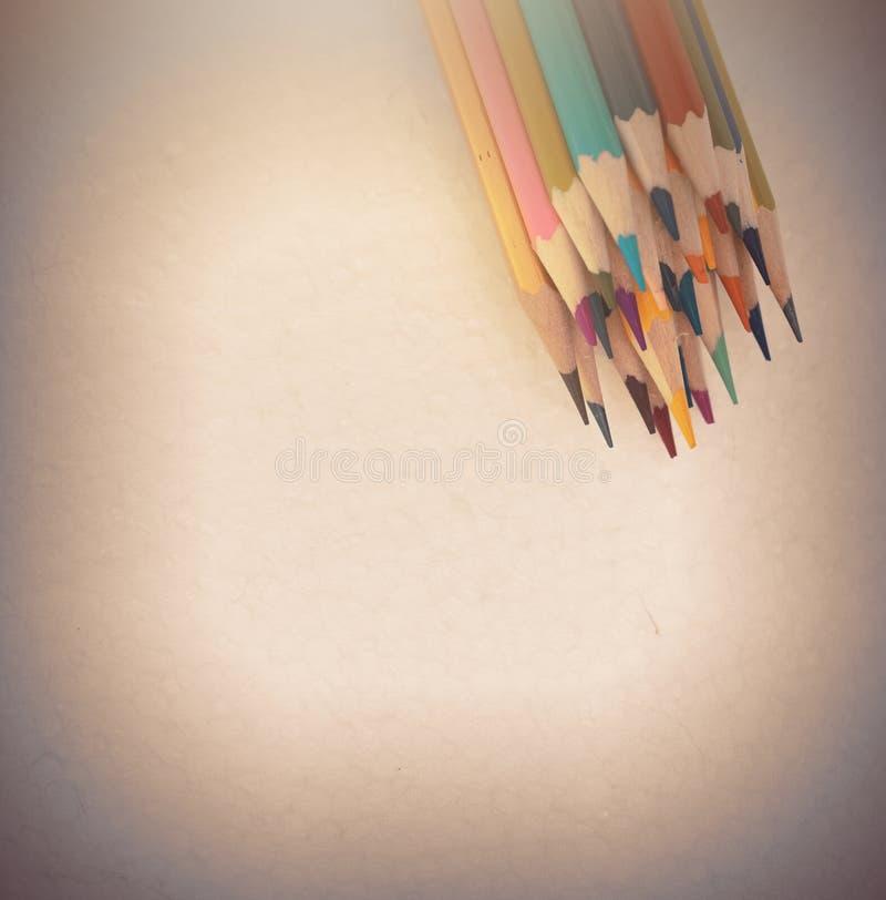 Een studio dichte omhooggaande foto van het kleuren van potloden royalty-vrije stock foto's