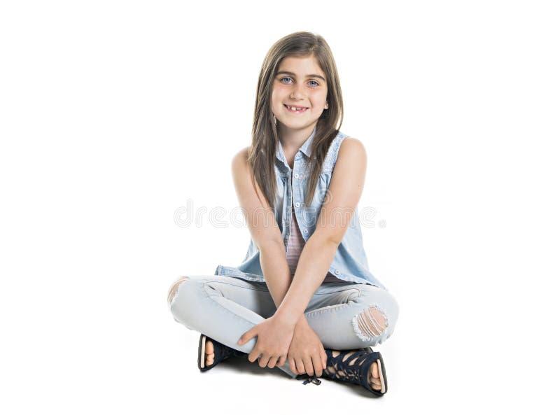 Een Studioportret van Glimlachend Meisjes volledig lichaam royalty-vrije stock foto