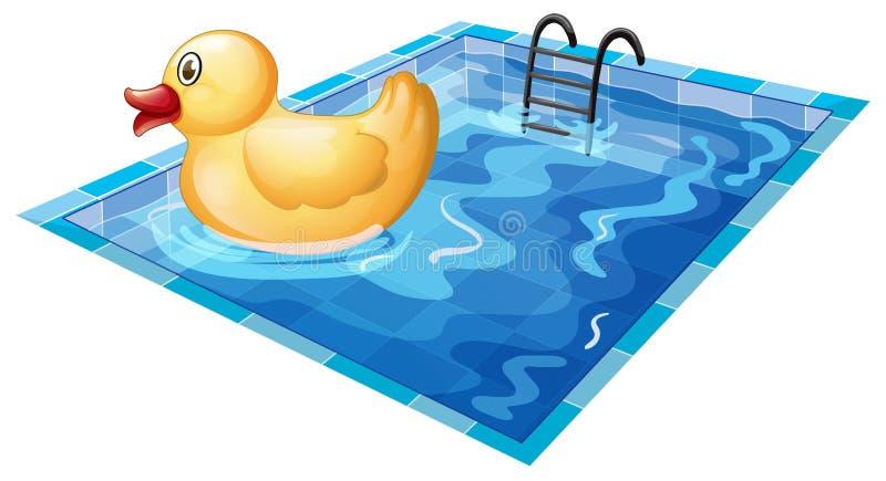 Een stuk speelgoed eend bij de pool stock illustratie
