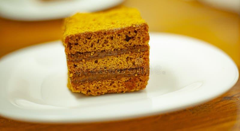 Een stuk van cake stock foto