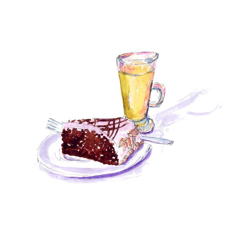 Een stuk van chocoladecake met glans en een glas sap - een waterverfschets stock illustratie