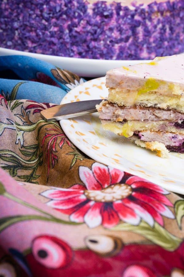 Een stuk van de cake van de bosbessenlaag op een witte plaat, zoet dessert voor theetijd of koffiepauze royalty-vrije stock foto