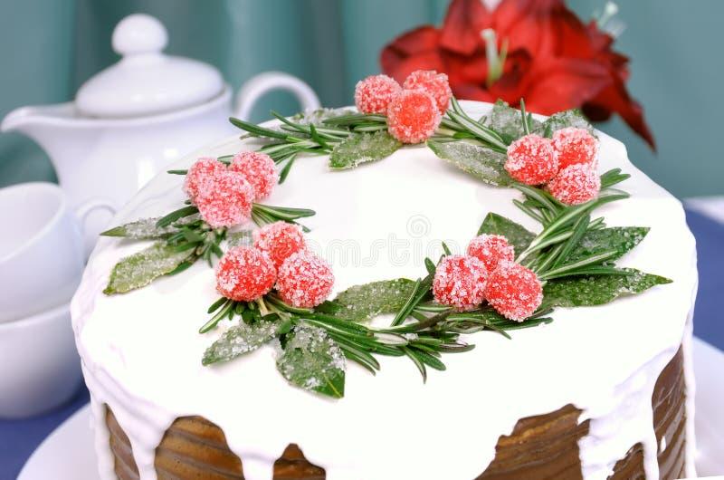 Een stuk van de cake van Kerstmis royalty-vrije stock fotografie