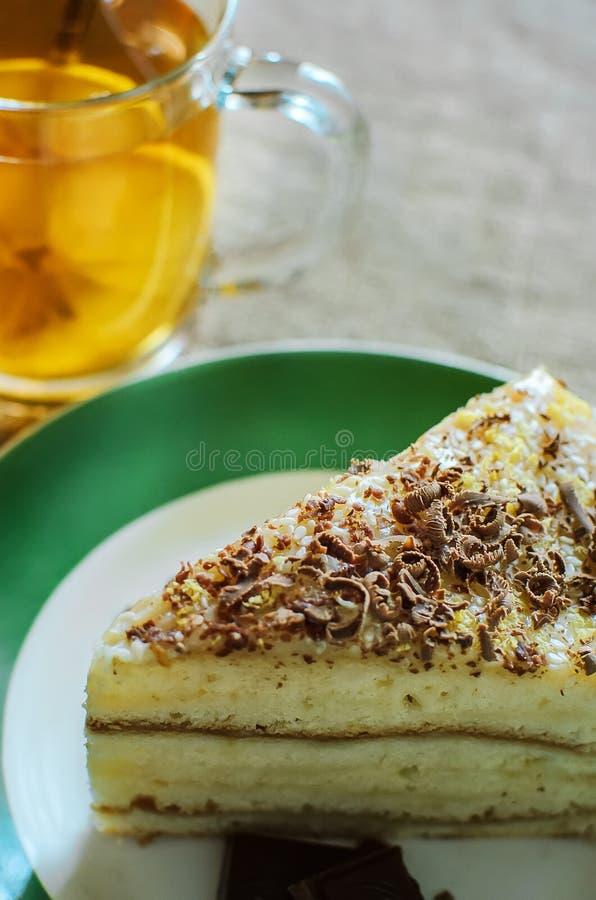 Een stuk van eigengemaakte koekjes cakewith chocolade bestrooit royalty-vrije stock afbeelding