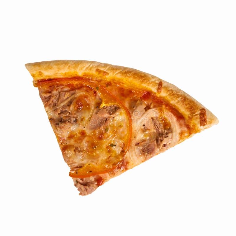 Een stuk van pizzapaprika en ei op witte achtergrond isoleer stock afbeelding