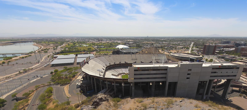 Een Sun Devil Stadiumschot, Tempe, Arizona stock afbeelding