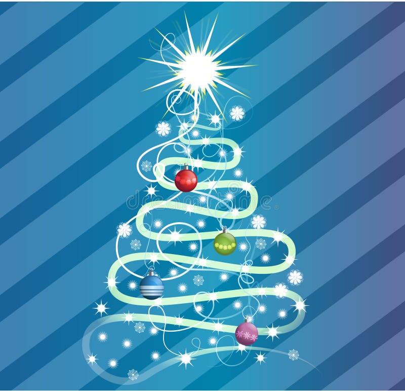 Een swirly ontwerp van de Kerstmisboom stock foto