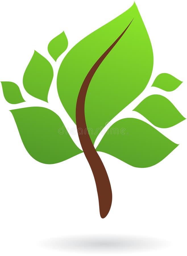Een tak met groene bladeren - aardembleem/pictogram stock illustratie