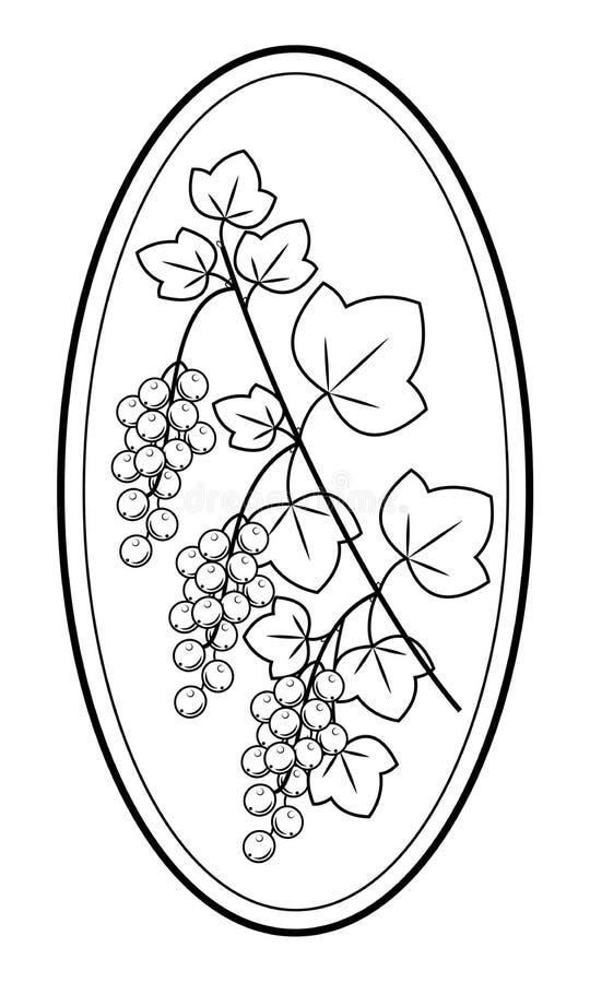 Een tak van een mooie besbes, geneeskrachtige installatie Nuttige heerlijke bessenvoeding en geneeskunde Grafisch beeld in kader royalty-vrije illustratie