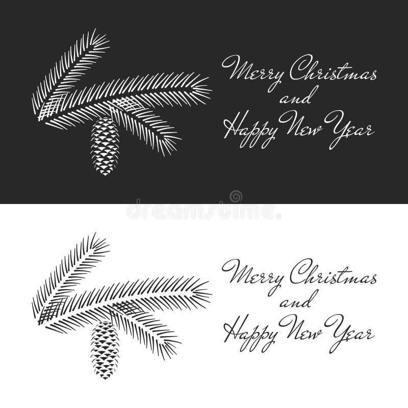 Een tak van sparren met een kegel in een minimalistische stijl, een reeks eenvoudige zwart-witte groetkaarten met Kerstmis en Nie vector illustratie
