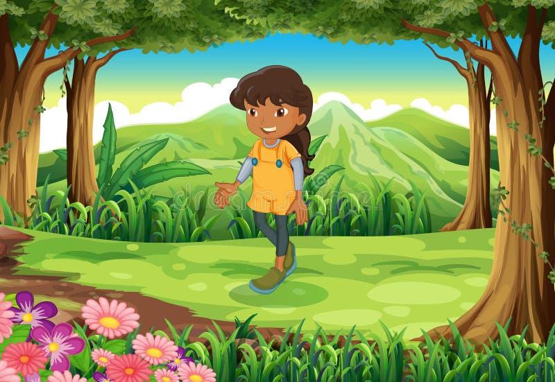 Een tan meisje bij het bos stock illustratie