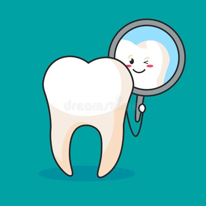 Een tand die een tandspiegel onderzoekt stock illustratie