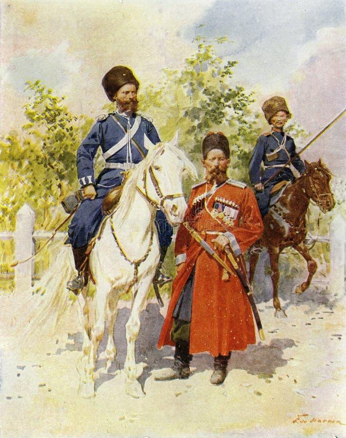 een team van Russische Kozakken, circa 1900 stock illustratie