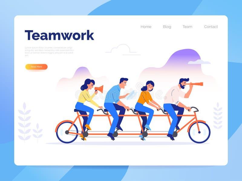 Een team van vier bedrijfsmensen die een fiets berijden De partners werken samen om gemeenschappelijke doelstellingen te bereiken stock illustratie