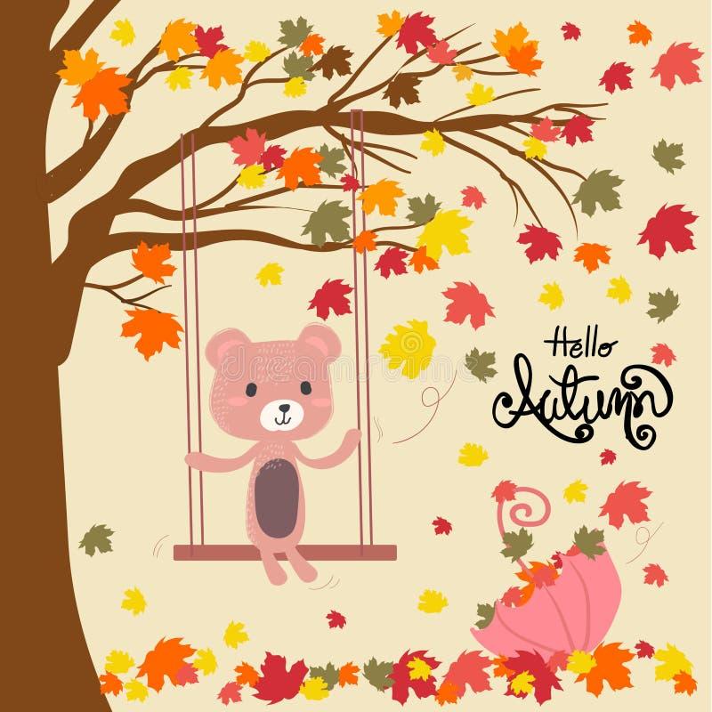 Een teddybeer die op een schommeling onder dalende verlofboom situeren vector illustratie