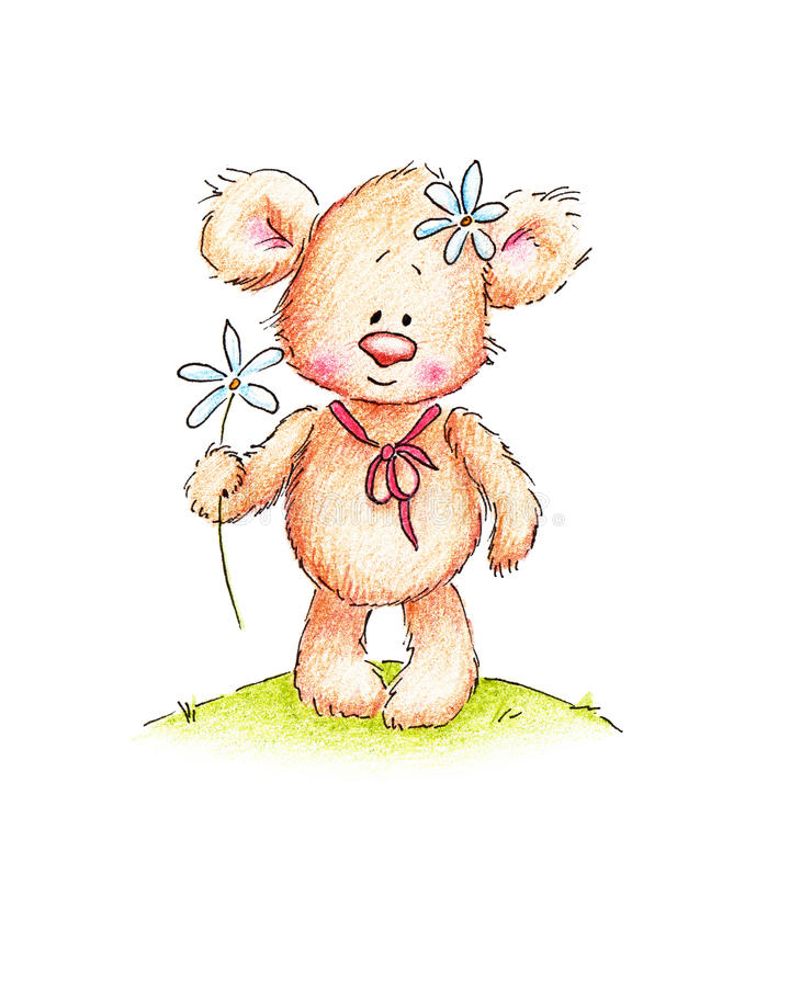 Een teddybeer met madeliefje royalty-vrije illustratie
