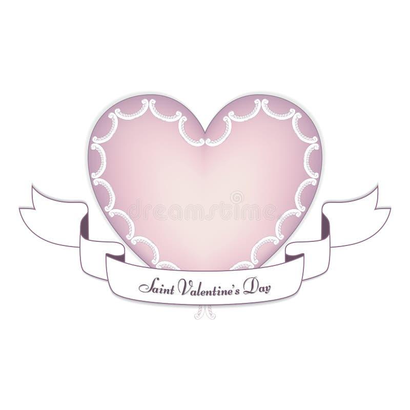Een teder roze hart met een witte banner op de dag van St Valentine, 14 Februari Het hart wordt gemaakt in de vorm van royalty-vrije stock foto