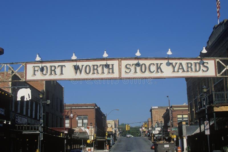 Een teken dat de Voorraadwerven van Fort Worth leest stock fotografie