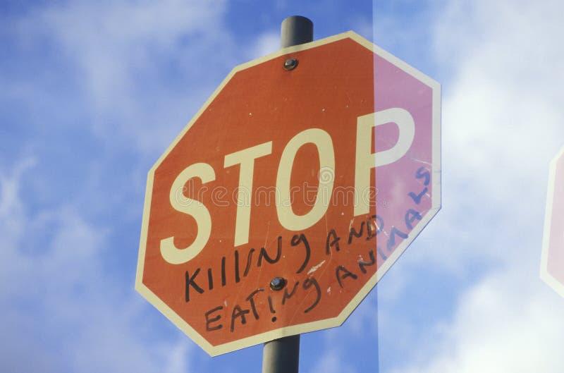Een teken dat Einde ï leest die ¿ ½ en animalsï ¿ ½ doden eten stock afbeelding