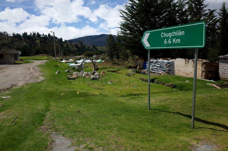 Een teken merkt de manier van de Quilotoa-Lijnstijging stock afbeelding