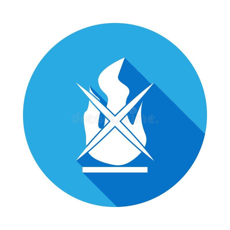 een teken van niet-brandt heeft pictogram met lange schaduw bezwaar Element van logistiekpictogram Tekens en symboleninzamelingsp vector illustratie