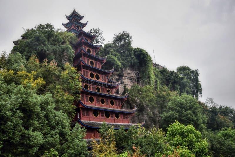 Een tempel bij het dorp van Shibaozhai dichtbij de stad van Wushan op de Yangtze-rivier royalty-vrije stock foto's